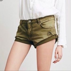 Free people Green denim shorts